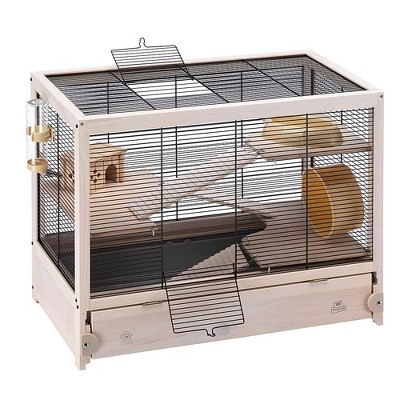 Ferplast Cavie Guinea Pig Cage 57026517US1 HAMSTERVILLE Sturdy Wooden Home Habitat and Cage with Exercise Wheel, Water Bottle, Food Dish, and Hide-Out