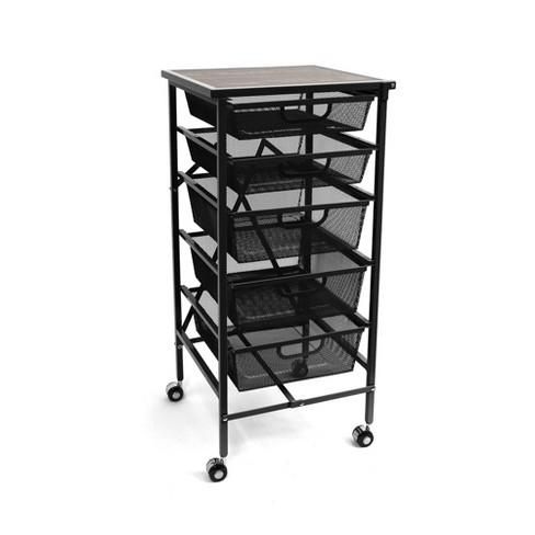 Origami Wheeled Folding Steel 5 Drawer Mesh Storage Kitchen Cart Wood Top,  Black