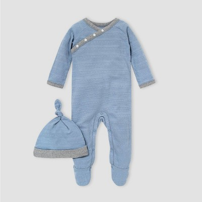 Burt's Bees Baby® Baby Girls' Dotted Jacquard Striped Jumpsuit and Knot Top Hat Set - Blue/Gray 0-3M