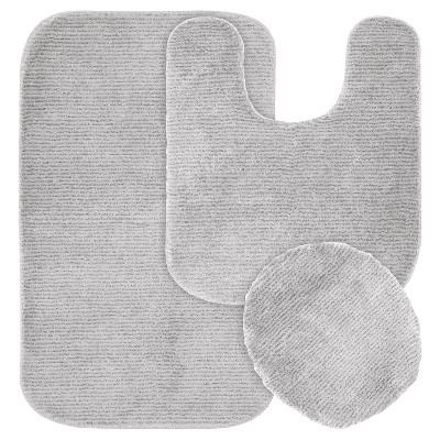 Garland 3 Piece Glamor Nylon Washable Bath Rug Set - Platinum Gray