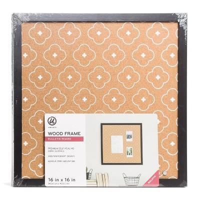 "U Brands 16"" Square Cork Board Abstract Terracotta/Black Frame"