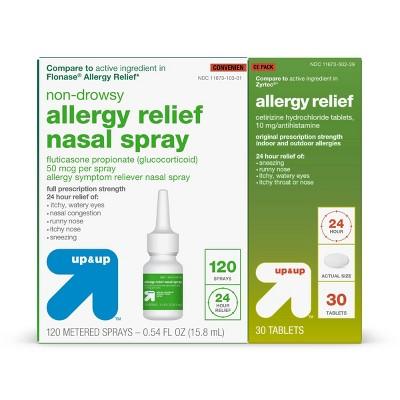 Allergy Convenience Pack - Fluticasone Spray 0.54 fl oz + Cetirizine Tablets 30ct - up & up™