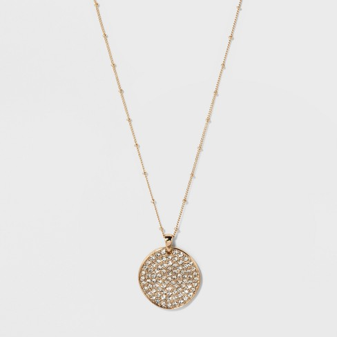 Long Pendant Stones Necklace - A New Day™ Gold - image 1 of 2