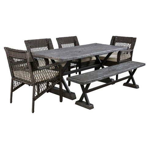 Elliana 6pc Wicker and MGO Picnic Dining Set - Brown - Christopher Knight Home - image 1 of 4