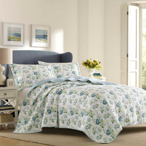 Blue Peony Garden Quilt Set - Laura Ashley - image 1 of 3