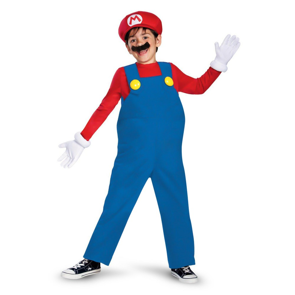 Image of Halloween Nintendo Boys' Mario Deluxe Costume Medium (7-8), Boy's, Size: Medium(7-8), Blue/Red/Yellow