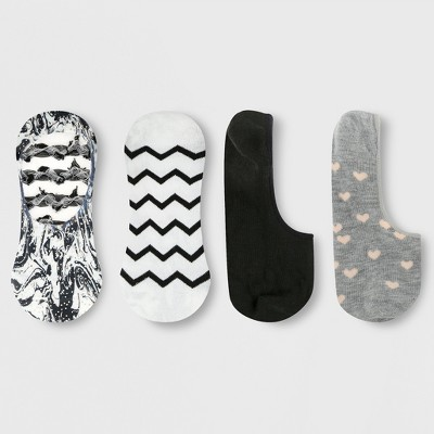 Women's Marble Printed 3pk Liner Socks - Xhilaration™ Black/White/Gray 4-10