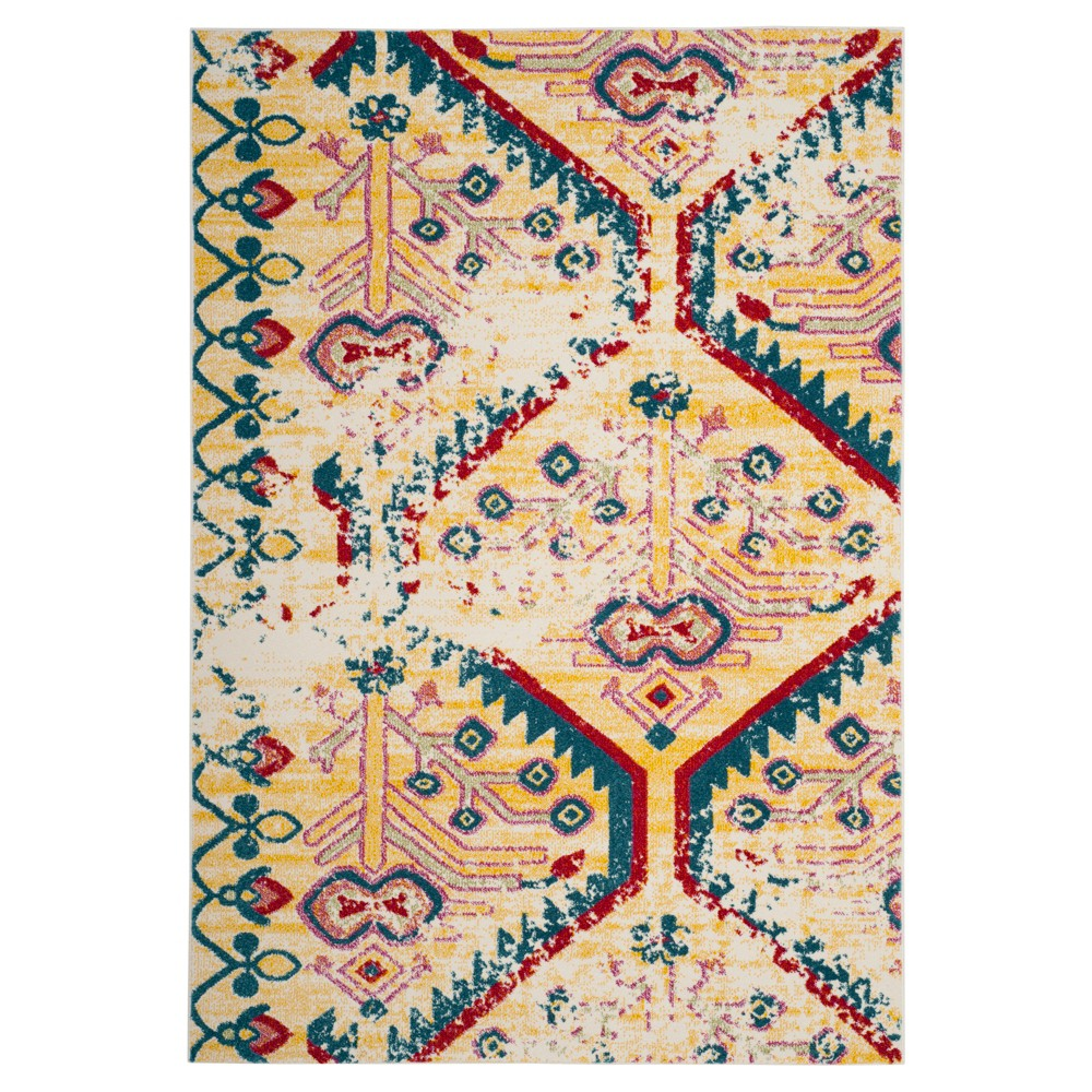 Light Yellow/Blue Tribal Design Loomed Accent Rug 2'7X5' - Safavieh
