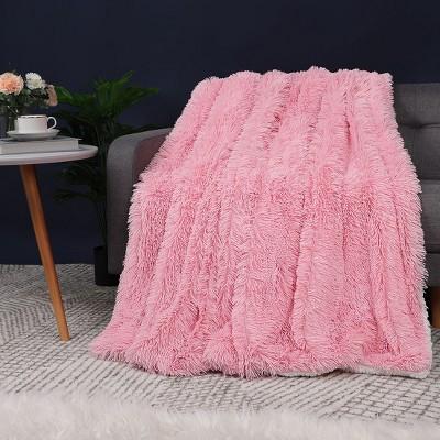1 Pc Queen Faux Fur Flannel Fleece Bed Blankets Pink  - PiccoCasa