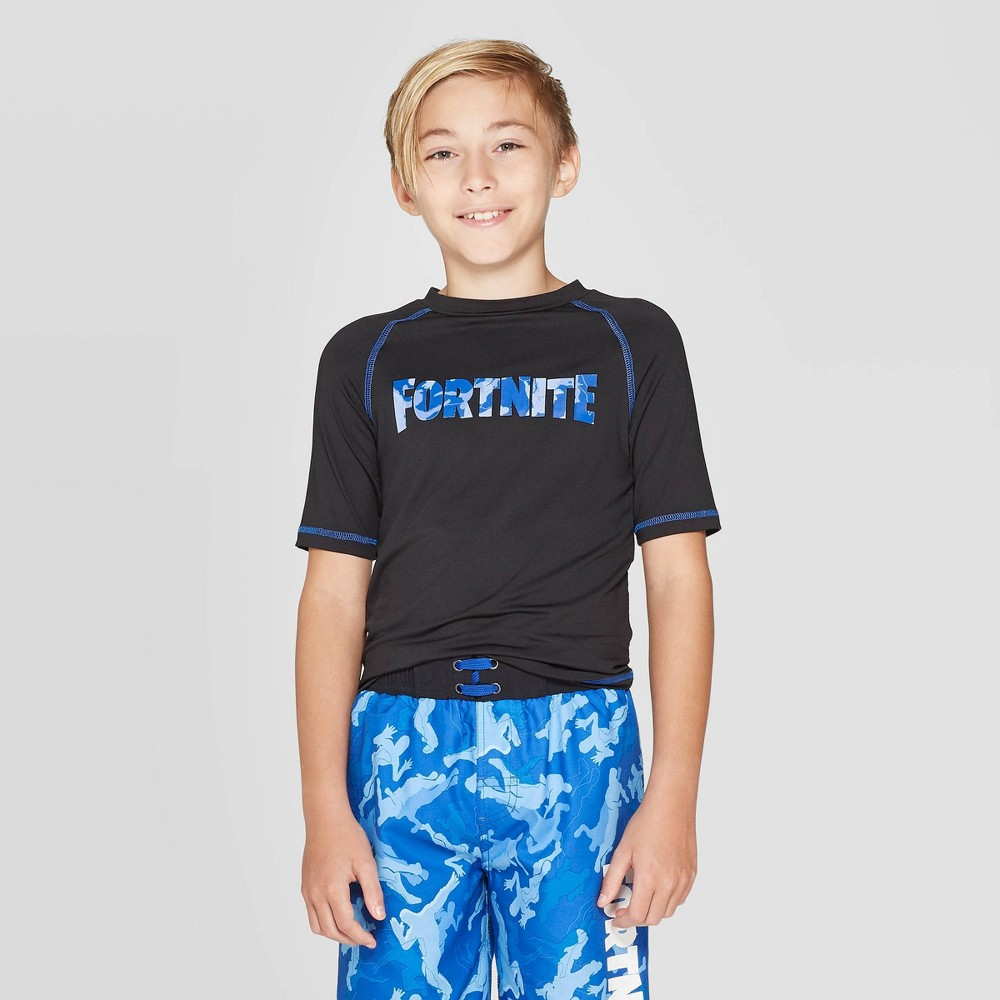 Image of Boys' Fortnite Camo Print Rash Guard - Black L, Boy's, Size: Large