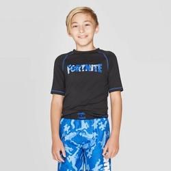 Boys' Fortnite Camo Print Rash Guard Swim Shirt - Black
