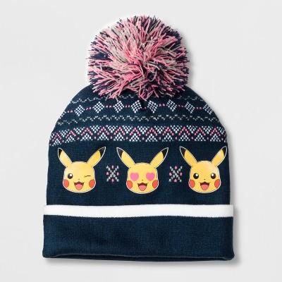 180437e64e2 Girls Pokemon Pikachu Cuffed Pom Beanie – Navy One Size – Target ...