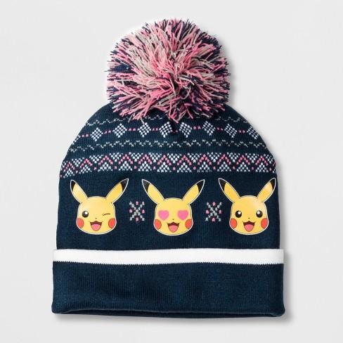 Girls  Pokemon Pikachu Cuffed Pom Beanie - Navy One Size   Target 4210f6e05bf