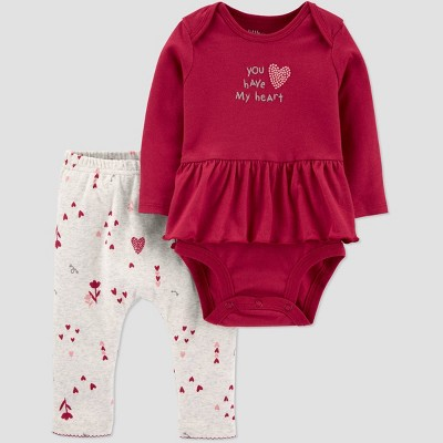 Baby Girls' 2pc Valentine's Day Top and bottom set - little planet organic by carter's Red 6M