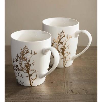 VivaTerra Gold Branch Porcelain Mugs, Set of 2