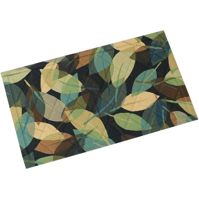 "1'5""x2'5"" Rectangle Floral Accent Rug Green - Sunnydaze Decor"
