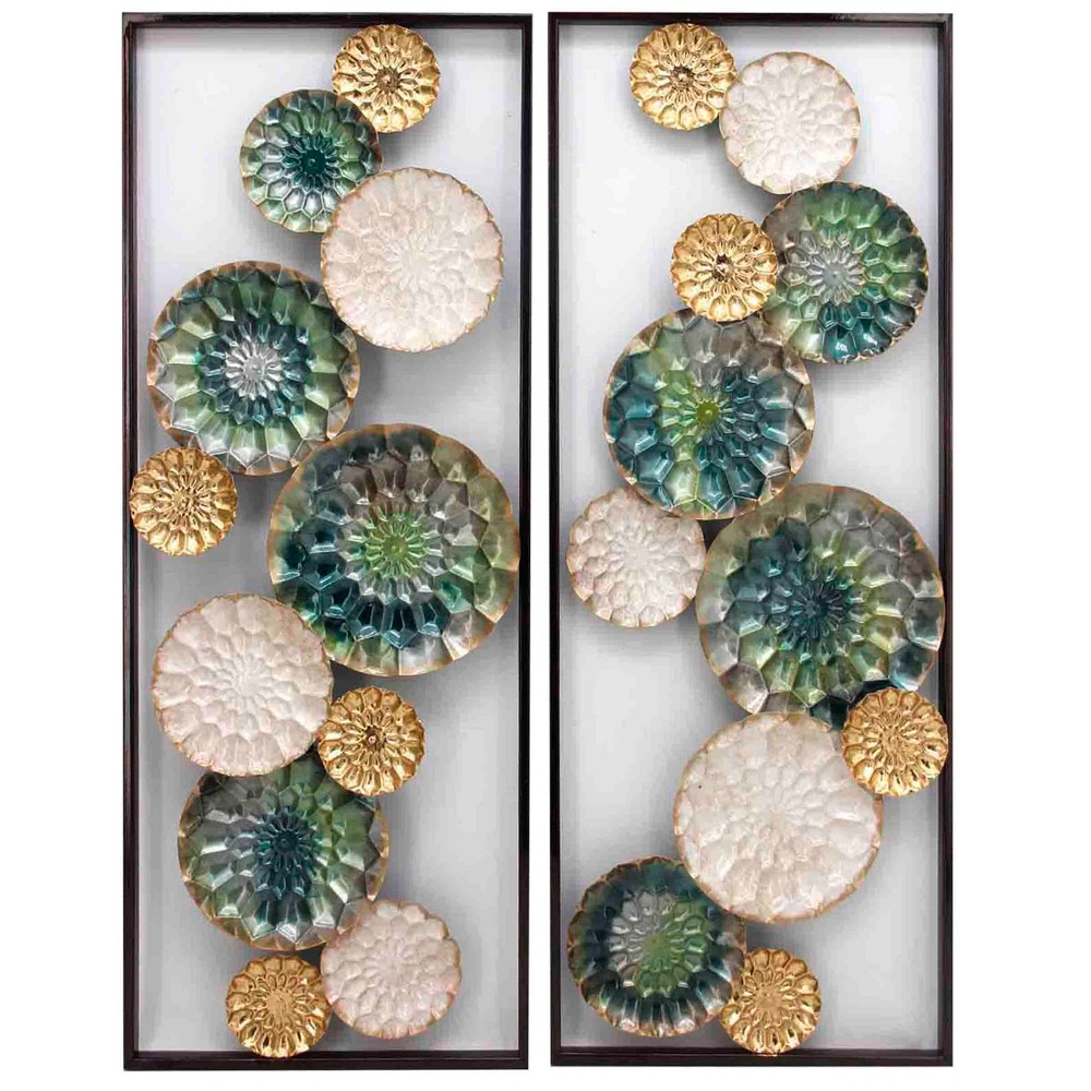 35.4 2pc Wreathed Composition Il Alternative Transitional Decorative Wall Art - StyleCraft, Multi-Colored