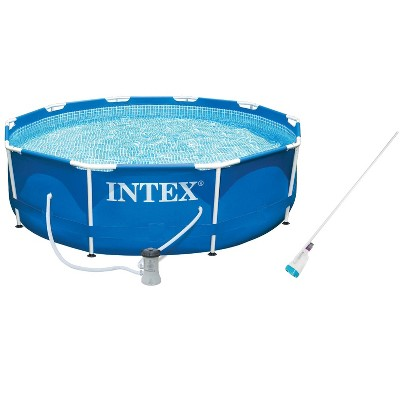 Intex 10ft x 30in Metal Frame Swimming Pool with Filter Pump Kokido B-VAC Vacuum