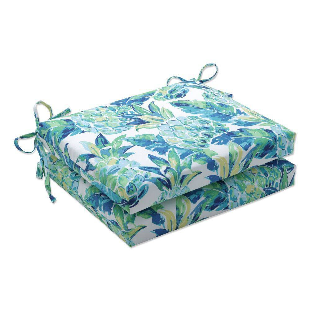 Top 2pk Outdoor/Indoor Squared Chair Pad Set Vida Opal Blue - Pillow Perfect