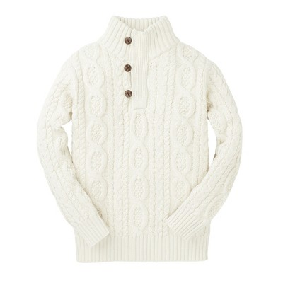 Hope & Henry Boys' Long Sleeve Mock Neck Cable Sweater with Button Placket, Infant