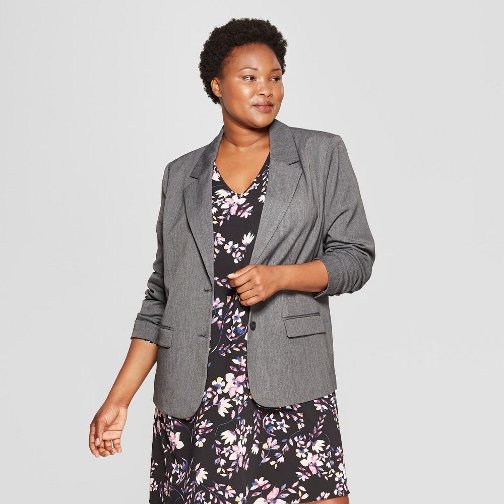 Women S Plus Size Bi Stretch Twill Blazer Ava Viv 8482 Dark Heather Gray 1x