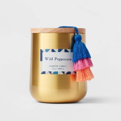 13oz Global Lidded Metal/Wood Tassel Wild Peppercorn Candle - Opalhouse™