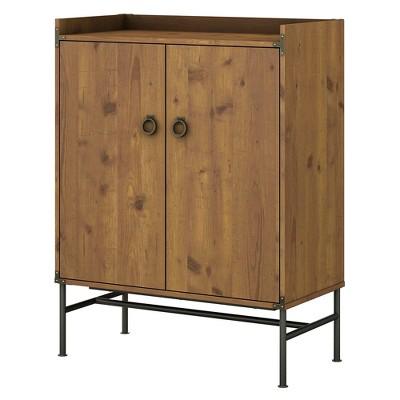 Ironworks Storage Cabinet with Doors Vintage Golden Pine - Kathy Ireland Home