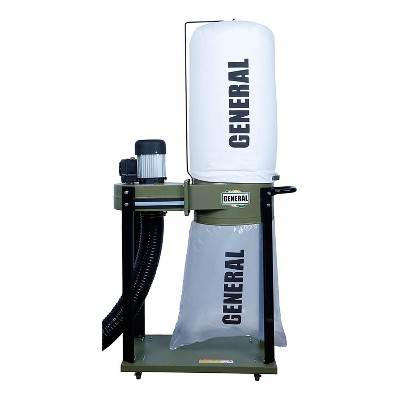 General International Portable 1 HP Dual Action Switch Commercial Dust Collector with 2 Micron Bag for Woodworking, Home Improvement, & Industrial Use
