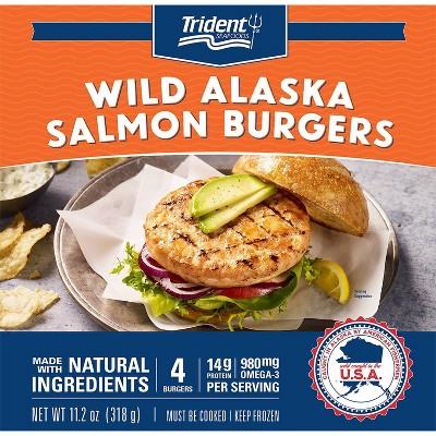 Trident Alaskan Salmon Burgers - Frozen - 11.2oz/4ct