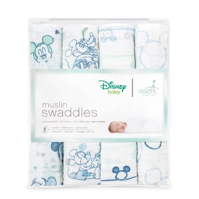 aden by aden + anais Muslin Swaddles Disney 4pk - Blue Mickey