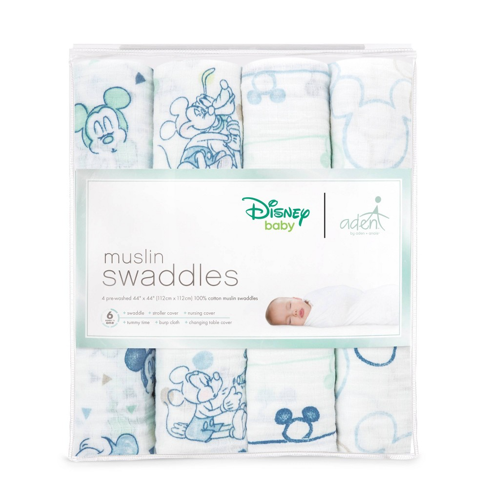 Image of aden by aden + anais Muslin Swaddles Disney 4pk - Blue Mickey