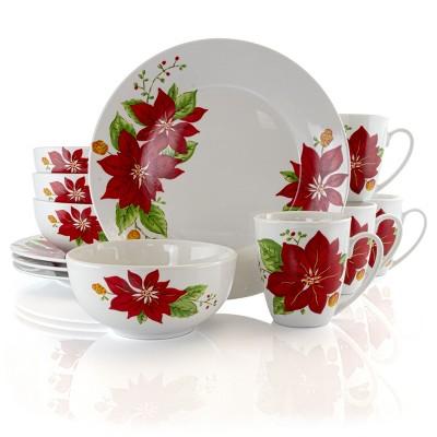 Gibson Home Holiday Poinsettia 12 Piece Fine Ceramic Dinnerware Set
