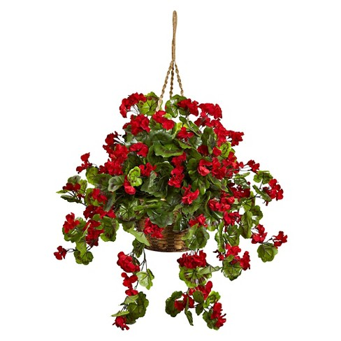 Nearly Natural Geranium Hanging Basket UV Resistant (Indoor/Outdoor) - image 1 of 1