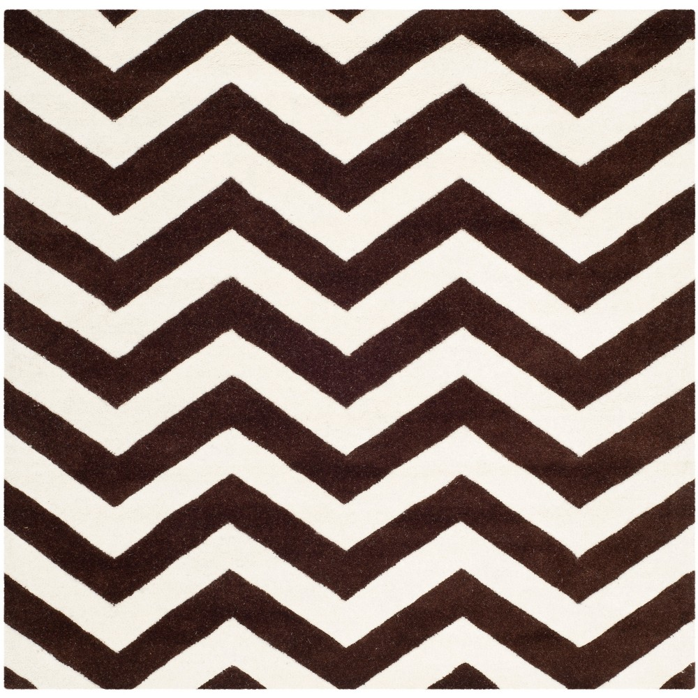 5'X5' Tufted Chevron Square Area Rug Brown - Safavieh, Brown/Ivory