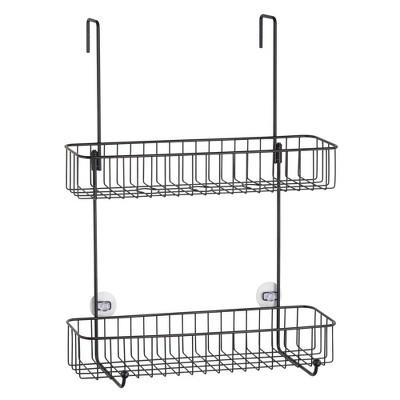 mDesign Wide Metal Over Door Hanging Shower Caddy, 2 Hooks and Baskets