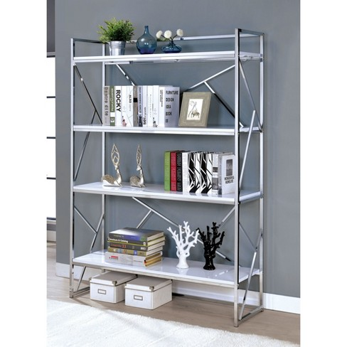 "Iohomes Netherton Contemporary 70.25"" Open Shelves Book Case Chrome - HOMES: Inside + Out - image 1 of 1"