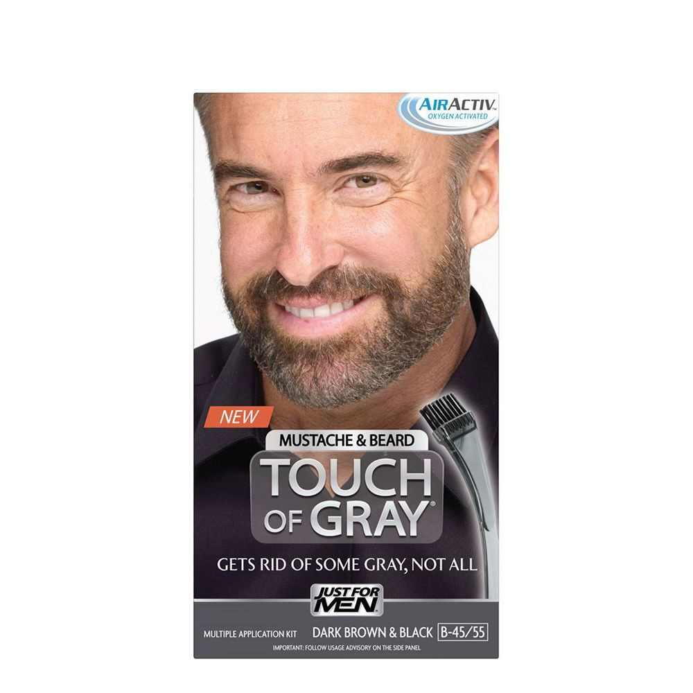 Image of Touch of Gray Mustache & Beard Dark Brown & Black B-45; B-55, Dark Brown & Black B-45/55