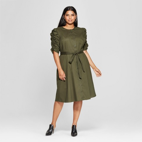 Women's Plus Size Shirred Sleeve Dress - Who What Wear™ Olive - image 1 of 3