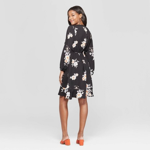 f149ff929fc57 Women s Floral Print Long Sleeve Deep V-Neck Wrap Dress - Xhilaration™ Black  XL   Target