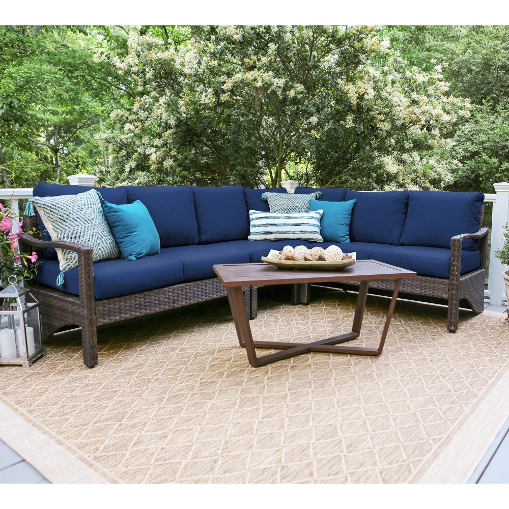 5pc Augusta All-Weather Wicker Corner Sectional Navy (Blue) - Leisure Made