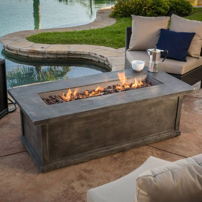 """Anchorage 56"""" MGO Gas Fire Table with Concrete Tank Holder- Rectangular -Gray Wood - Christopher Knight Home"""