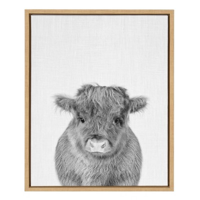 "18"" x 24"" Sylvie Baby Cow Framed Canvas by Simon Te Tai Natural - Kate and Laurel"