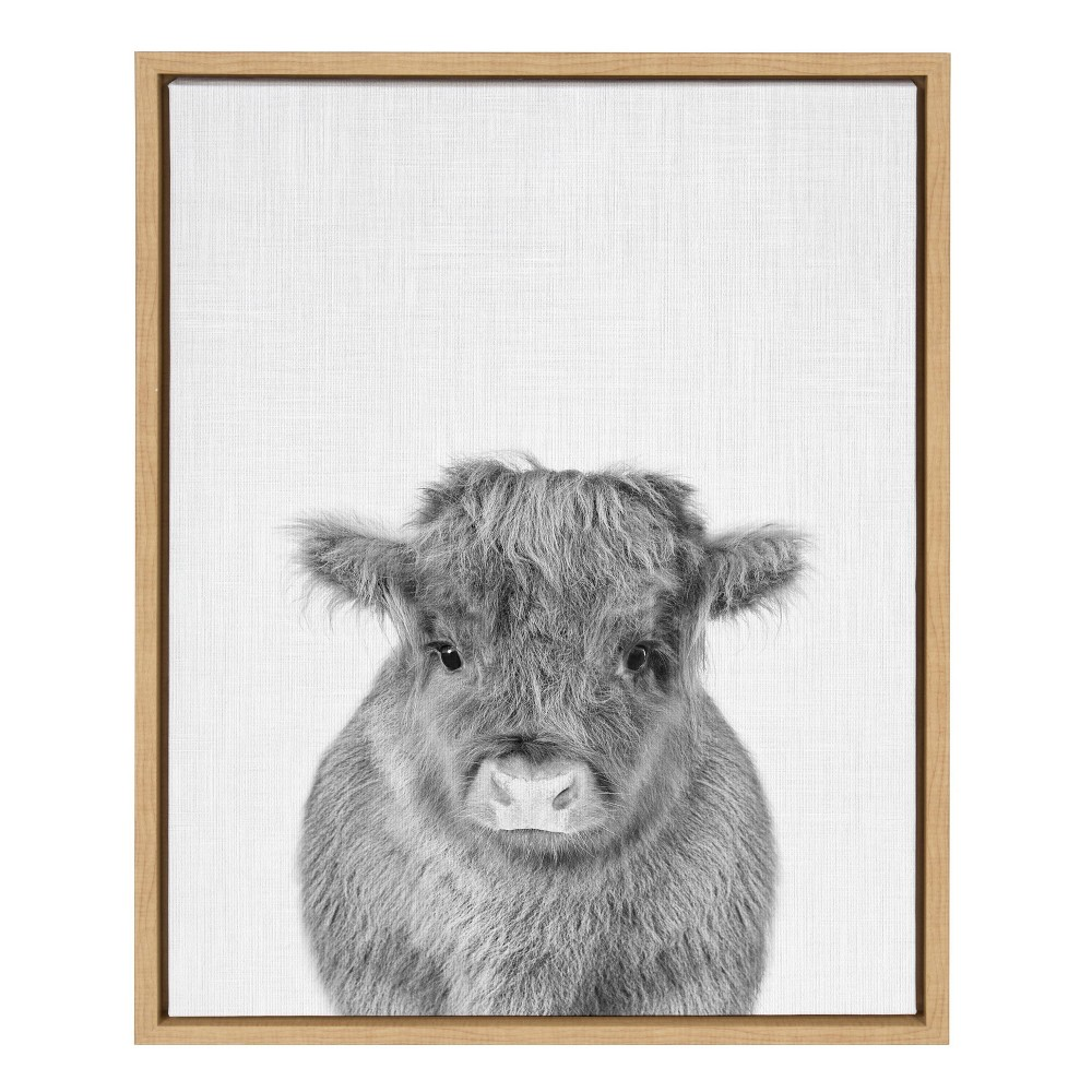 """Image of """"18""""""""x24"""""""" Slyvie Baby Cow Framed Canvas By Simon Te Tai Natural - Kate and Laurel, Beige"""""""
