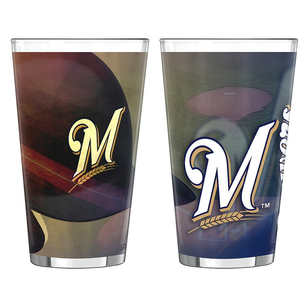 Boelter Brands MLB Milwaukee Brewers Set of 2 Shadow Pint Glass - 16oz, Multi-Colored