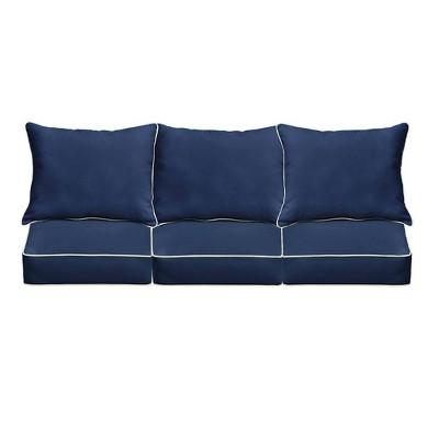 Sunbrella Outdoor Seat Cushion Navy Blue/Ivory