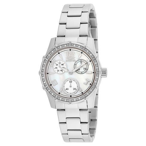 Women's Invicta 16118 Angel Quartz 3 Hand White Dial Link Watch - Silver - image 1 of 1