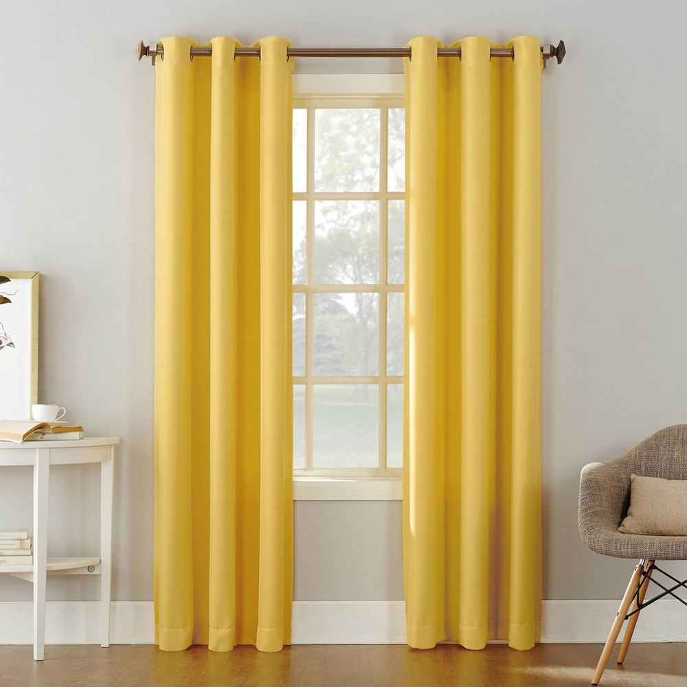 95 34 X48 34 Montego Casual Textured Grommet Curtain Panel Yellow No 918