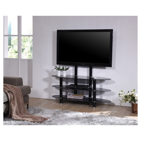 3 Shelf Glass Tv Stand With Mount Black 44 Hodedah Import Target