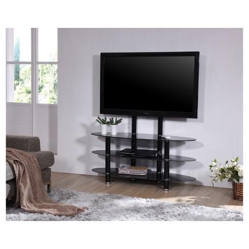 3 Shelf Gl Tv Stand With Mount Black 44 Hodedah Import