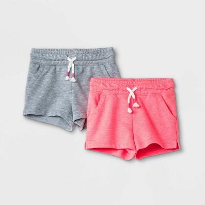 Toddler Girls' 2pk Pull-On Shorts - Cat & Jack™ Gray/Pink 4T